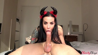 Seductive Demon Facefuck A Colossal Dick, Drains Nuts + Swallows!